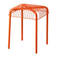 Ikea 'VÄSTERÖN' Orange Metal Stool